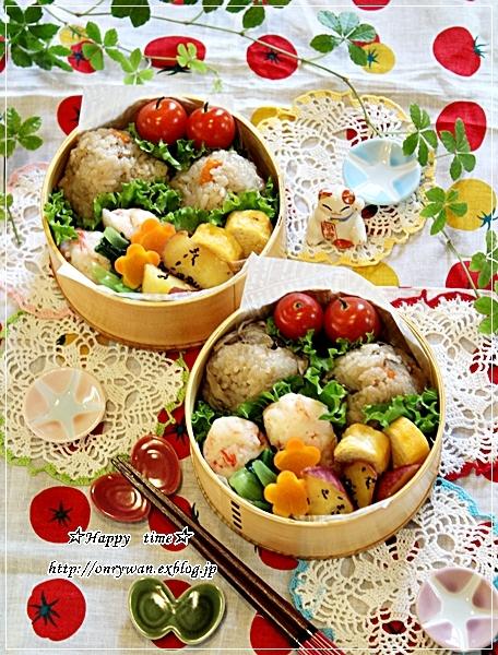 炊き込みごはんおむすび弁当と実家の収穫物と我が家の収穫物♪_f0348032_18055600.jpg