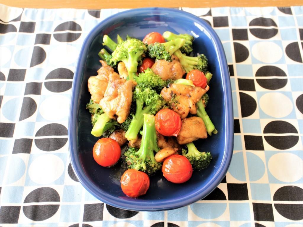 鶏もも肉、ブロッコリー、ミニトマトのしょうゆマスタード炒め_f0220354_13200636.jpg