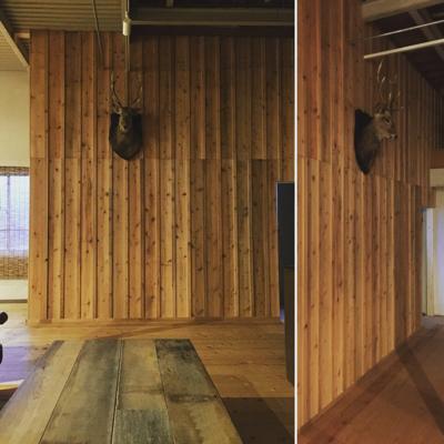 外壁材の杉を使用、目板張りの階段室造作完了しました。建具待ちです。薪ストーブ効率の試験楽しみです_f0115152_17120046.jpg
