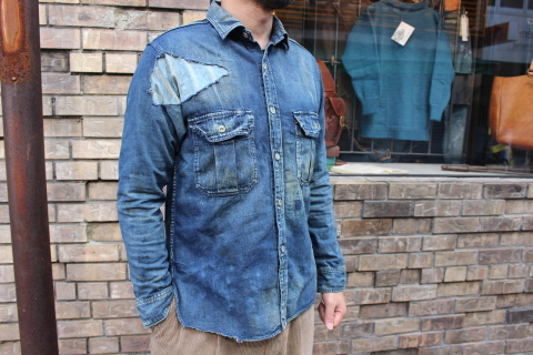 "ANACHRONORM ""DAMAGED DENIM WORK SHIRT\"" ご紹介_f0191324_08084596.jpg"