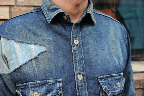 "ANACHRONORM ""DAMAGED DENIM WORK SHIRT\"" ご紹介_f0191324_08093806.jpg"