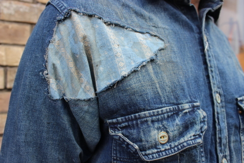 "ANACHRONORM ""DAMAGED DENIM WORK SHIRT\"" ご紹介_f0191324_08103408.jpg"