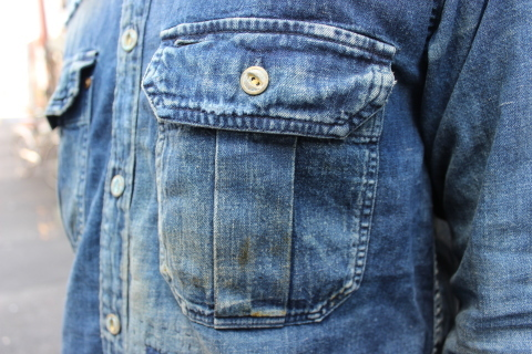 "ANACHRONORM ""DAMAGED DENIM WORK SHIRT\"" ご紹介_f0191324_08140247.jpg"