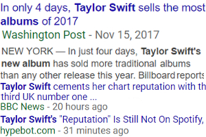 テイラー・スウィフトさんの最新アルバム「Reputation」たった4日で今年最も売れたアルバムに!!_b0007805_23414455.jpg