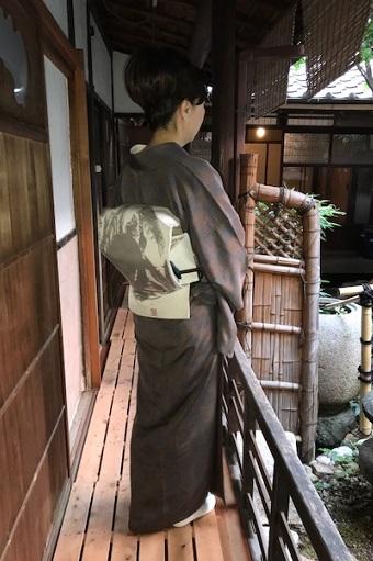 お煎茶の会・お客様の着物姿・伊藤若冲のカニの帯。_f0181251_1525427.jpg