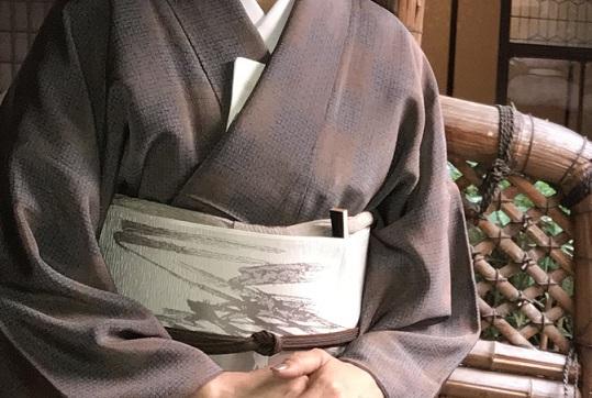 お煎茶の会・お客様の着物姿・伊藤若冲のカニの帯。_f0181251_1565069.jpg