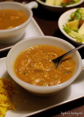 ターキーとレンズ豆のカレースープ。ハムエッグ(リメイク祭り その2)_b0253205_06220177.jpg