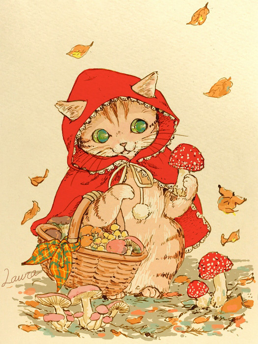 "Lauraの猫イラスト・赤ずきんあぺりら  Laura\'s Illustration ""Little Red Riding Hood Apelila\""_d0025294_18362668.jpg"