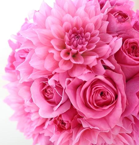 ダリアとバラのピンクのブーケ、ターコイズブルーのリボンに鮮やかなフーシャピンクで _a0042928_14574955.jpg