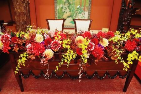 秋の装花 ホテル雅叙園東京 鷲の間様へ 青竹の器に華やかに_a0042928_11385910.jpg