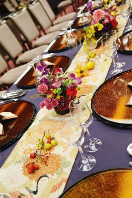 秋の装花 ホテル雅叙園東京 鷲の間様へ 青竹の器に華やかに_a0042928_13284581.jpg