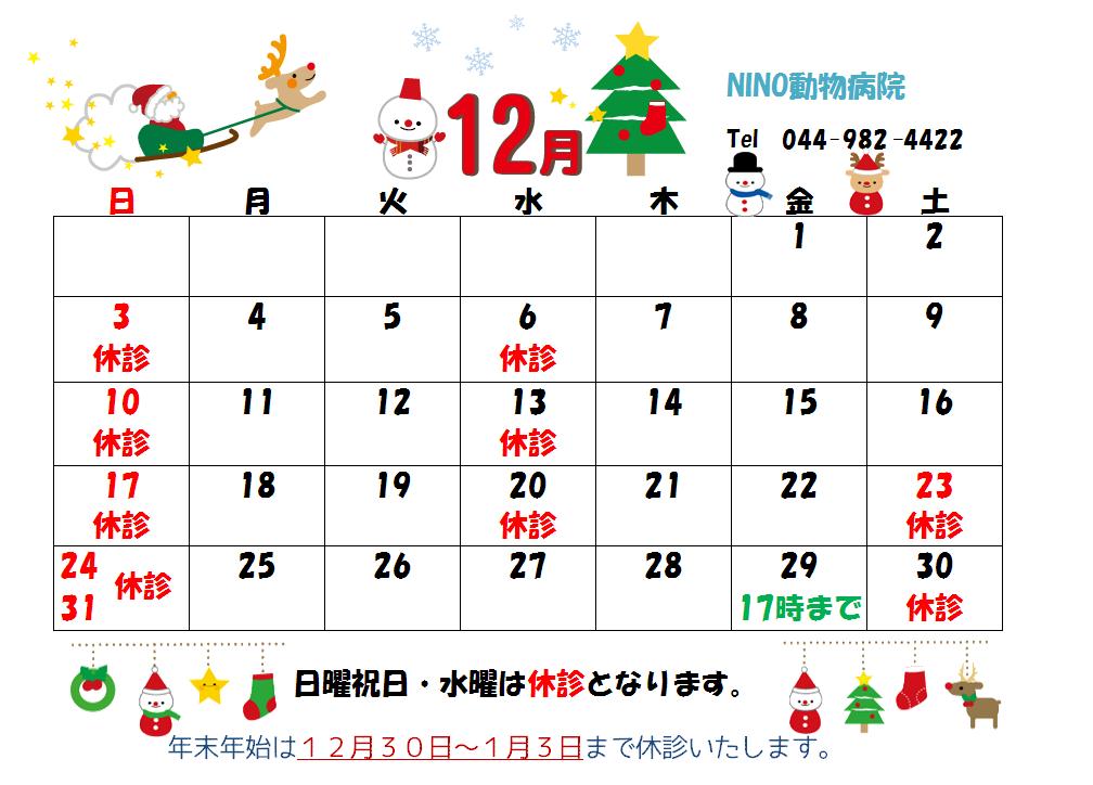 12月の診療日のお知らせ☆_e0288670_10153717.png