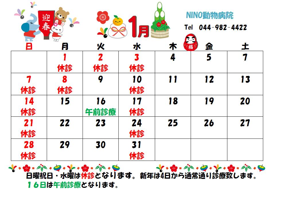 1月の診療日のお知らせ☆_e0288670_13590827.png