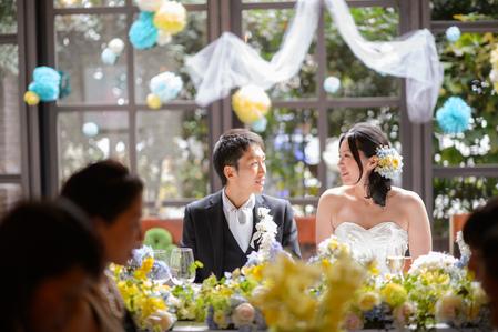 新郎新婦様からのメール 12月、太陽と青空の装花 アンカシェットの花嫁様から_a0042928_2155051.jpg
