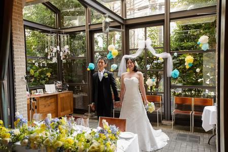 新郎新婦様からのメール 12月、太陽と青空の装花 アンカシェットの花嫁様から_a0042928_2194471.jpg