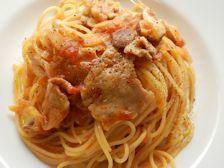 12/8本日パスタ:豚肉と炒めた玉ねぎのトマトソース・スパゲティ_a0116684_12124911.jpg