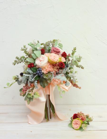 手作りのブーケ、生花とプリザーブドと造花の比較_a0042928_10363060.jpg