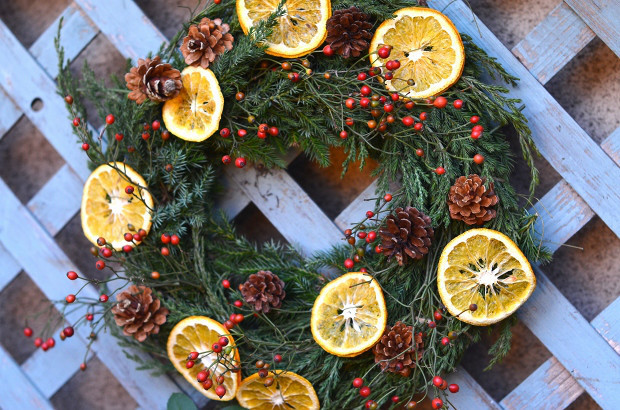 庭の植物でクリスマスリース  Handmade Christmas Wreath made of My Garden Plants_d0025294_18582576.jpg