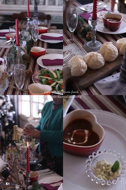 我が家でクリスマスパーティー(2)ワインレッドをきかせた大人乙女の為のテーブル_e0237680_11070434.jpg