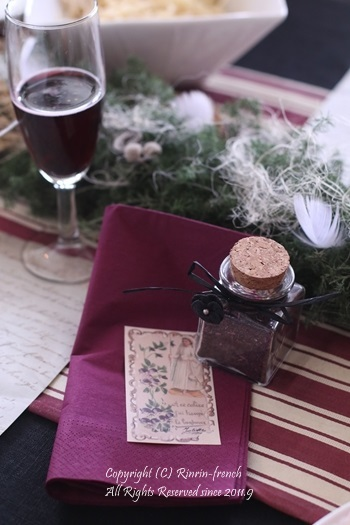 我が家でクリスマスパーティー(2)ワインレッドをきかせた大人乙女の為のテーブル_e0237680_11093506.jpg
