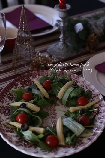 我が家でクリスマスパーティー(2)ワインレッドをきかせた大人乙女の為のテーブル_e0237680_11192092.jpg