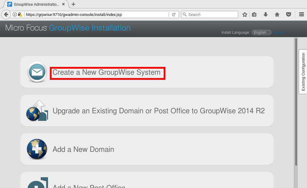 GroupWise 2014 R2 SP1 の SLES12 へのインストール(一部不具合あり)_a0056607_10315788.jpg