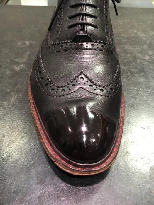 『前編』黒の靴に紫のワックスで鏡面磨き。_b0226322_10560247.jpg