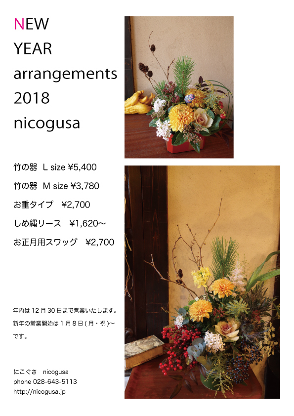 nicogusa new year arrangements 2018_c0069389_17453410.jpg