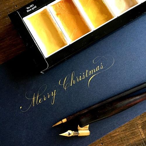 Finetecと呉竹顔彩耽美☆ビジネスライティングのクリスマスカード_b0165872_20002660.jpg