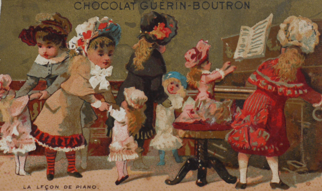 フランスのクロモカード 《ピアノのお稽古》(ショコラティエ ゲラン・ブトロン)_e0356356_16213981.jpg