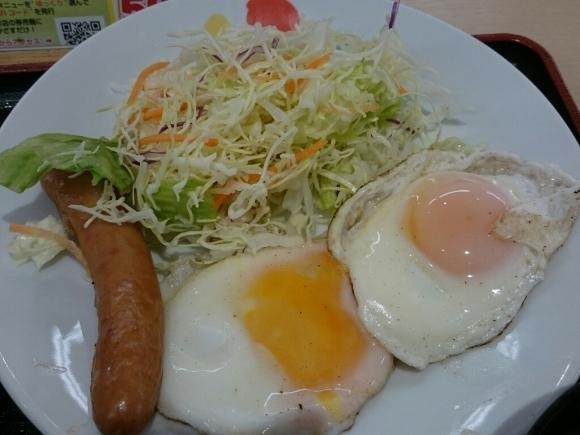 1/6  ソーセージダブルエッグ定食ミニ牛皿ライス大盛¥510@松屋_b0042308_07184753.jpg