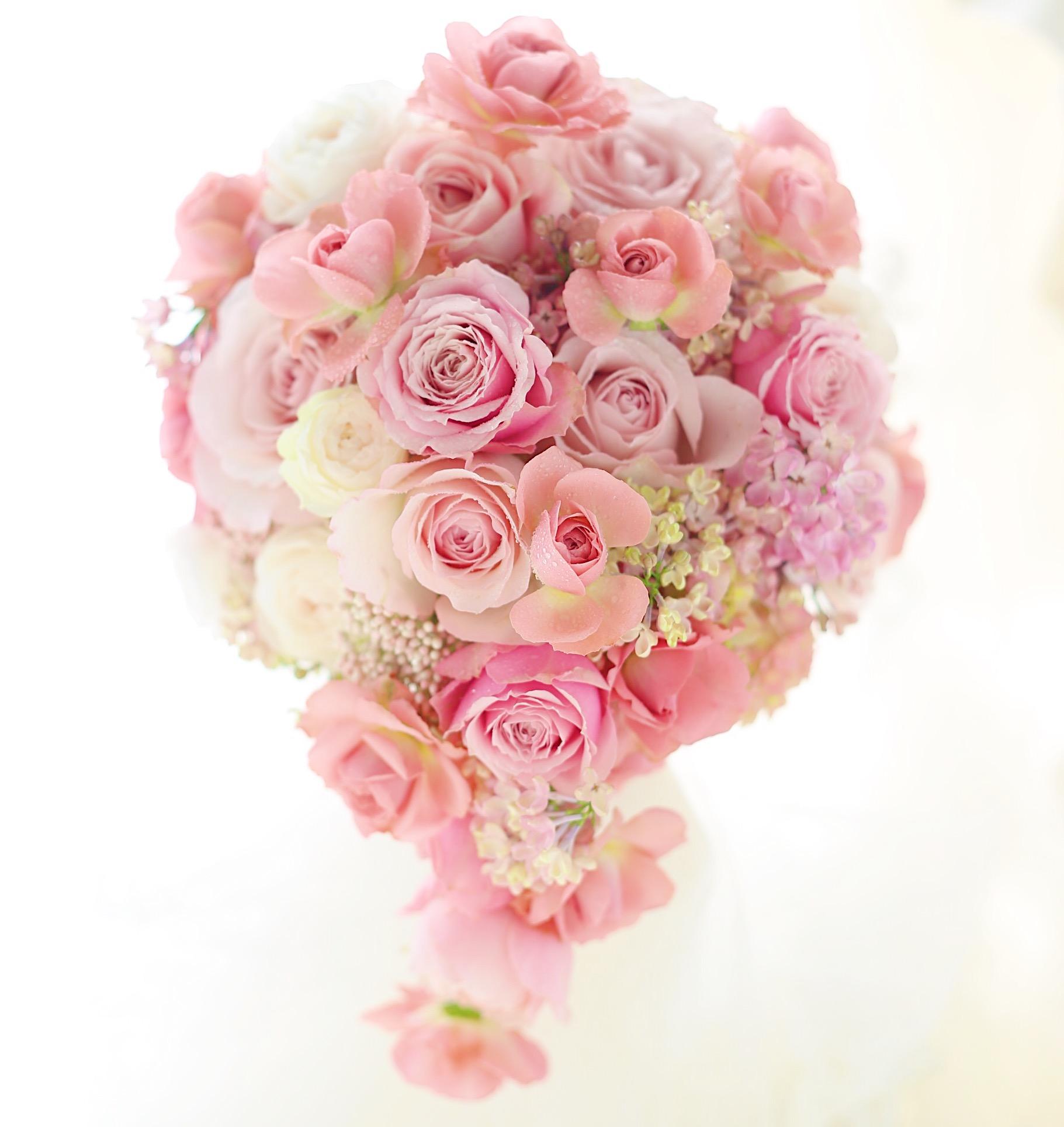セミキャスケードブーケ セピアピンクと甘いピンク M-カントリーボーイ_a0042928_15282866.jpg