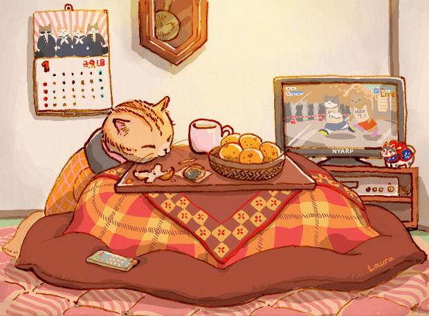 こたつ猫のイラスト  Laura\'s Illustration_d0025294_19340486.jpg