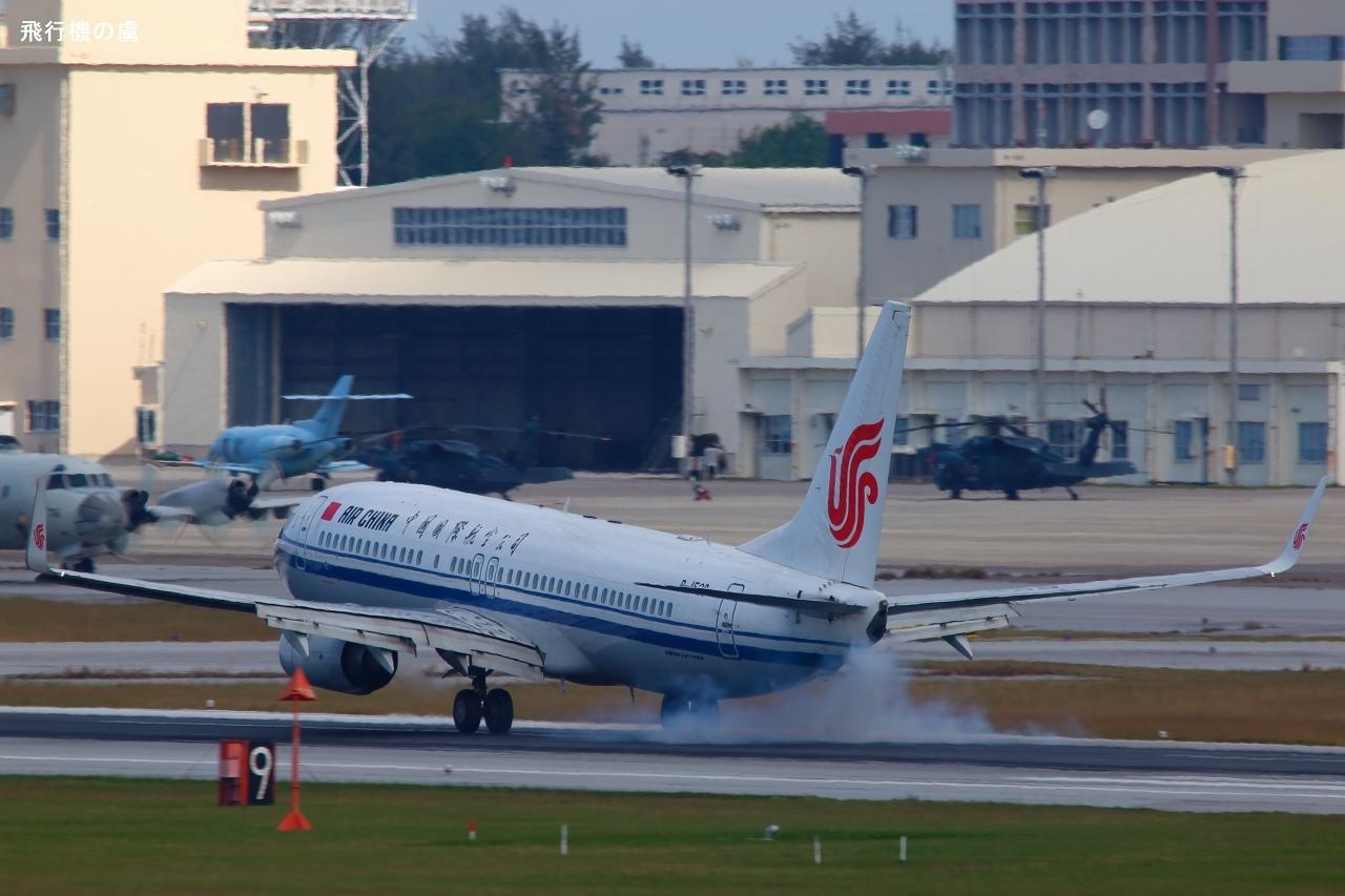 タイヤスモーク  B737  中国国際航空(CA)_b0313338_23221008.jpg