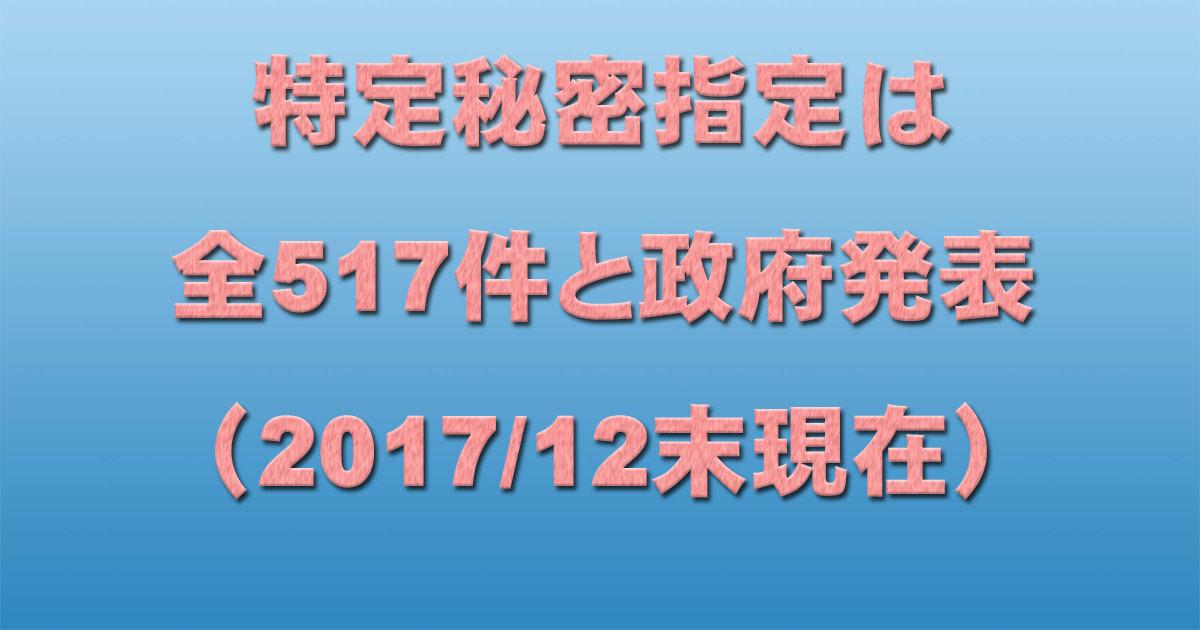 特定秘密指定は全517件と政府発表(2017/12末現在)_c0241022_19414617.jpg