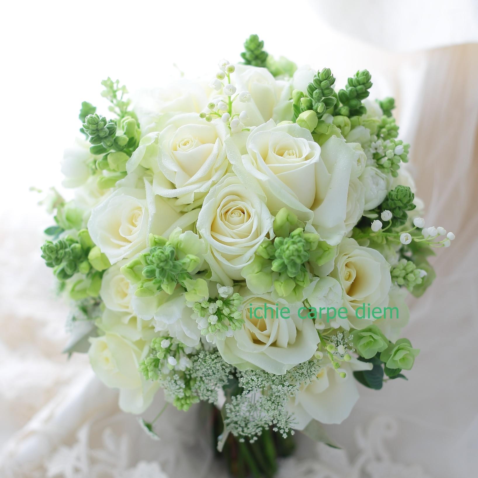 クラッチブーケ 八芳園さまへ バラをメインに、穂のような花たちで_a0042928_20504453.jpg