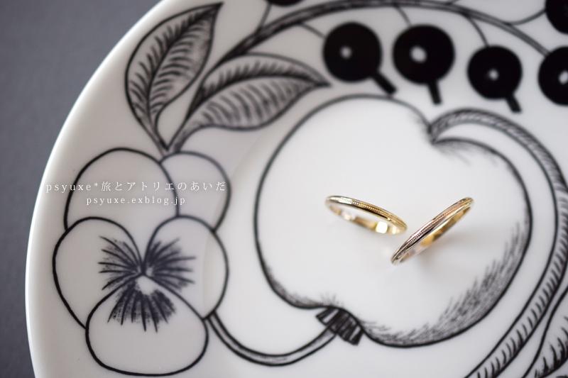 2色のゴールドとミルグレイン、手描き刻印のマリッジリング 静岡県 N 様_e0131432_15094811.jpg