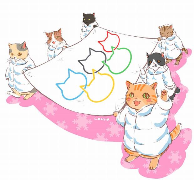 オリンピックの年は、ネコリンピック!  Laura\'s Olympic Illustration_d0025294_11041751.jpg