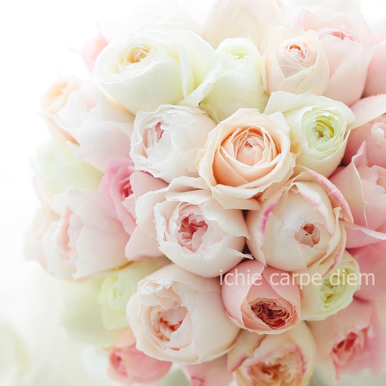 クラッチブーケ ザ・リッツカールトン東京さまへ ほのかなピンクのバラだけで_a0042928_10402061.jpg