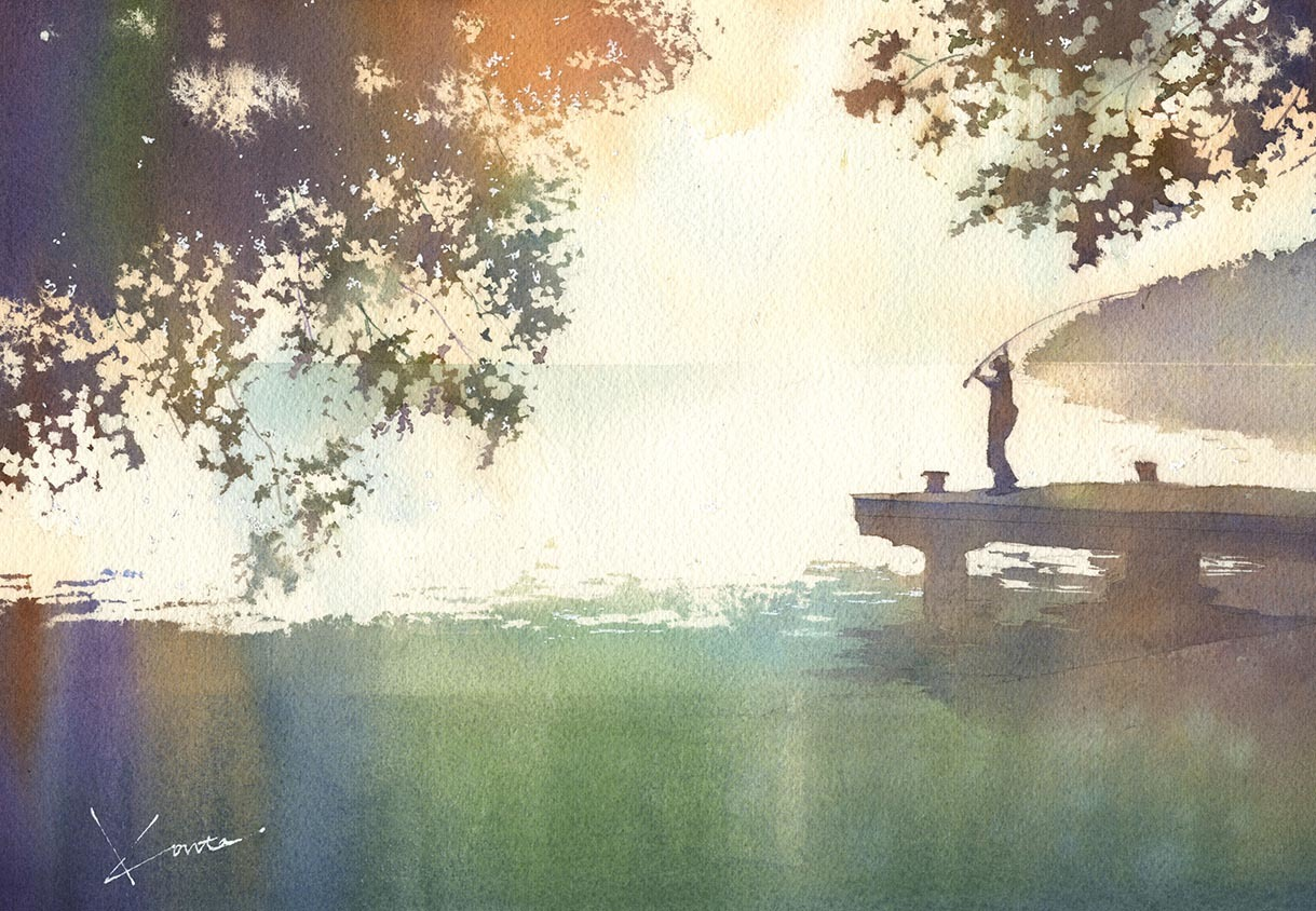朝凪の空 水彩画_f0176370_16081226.jpg