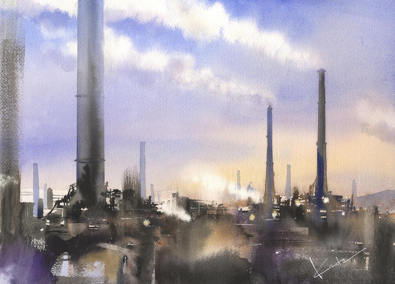 工場 水彩画_f0176370_15204039.jpg