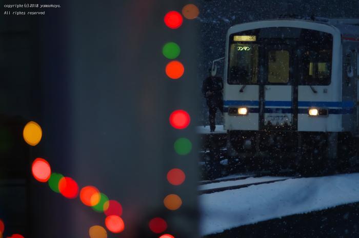口羽駅に列車がやって来る_d0309612_21262951.jpg