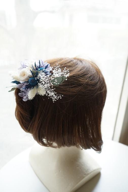 #ブルー系の小花を集めたクラッチブーケ_a0136507_22551212.jpg
