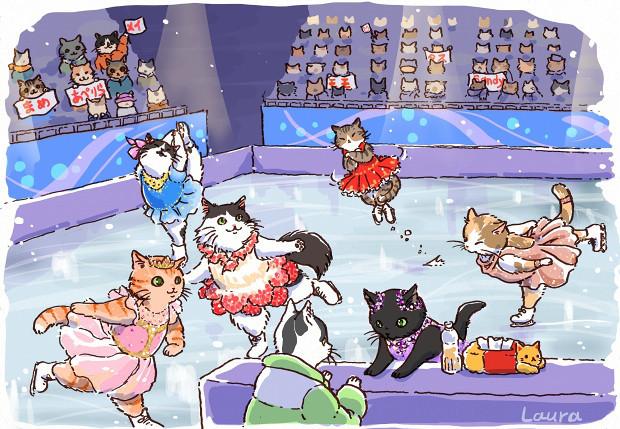 ネコリンピック、フィギィアスケート絶賛開催中!  Laura\'s Olympic Illustration 2_d0025294_17373019.jpg