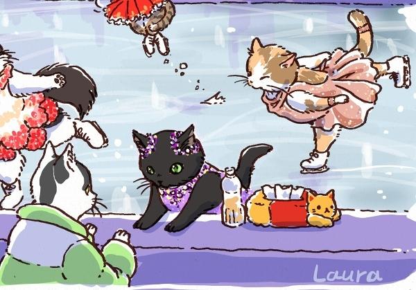 ネコリンピック、フィギィアスケート絶賛開催中!  Laura\'s Olympic Illustration 2_d0025294_18542218.jpg