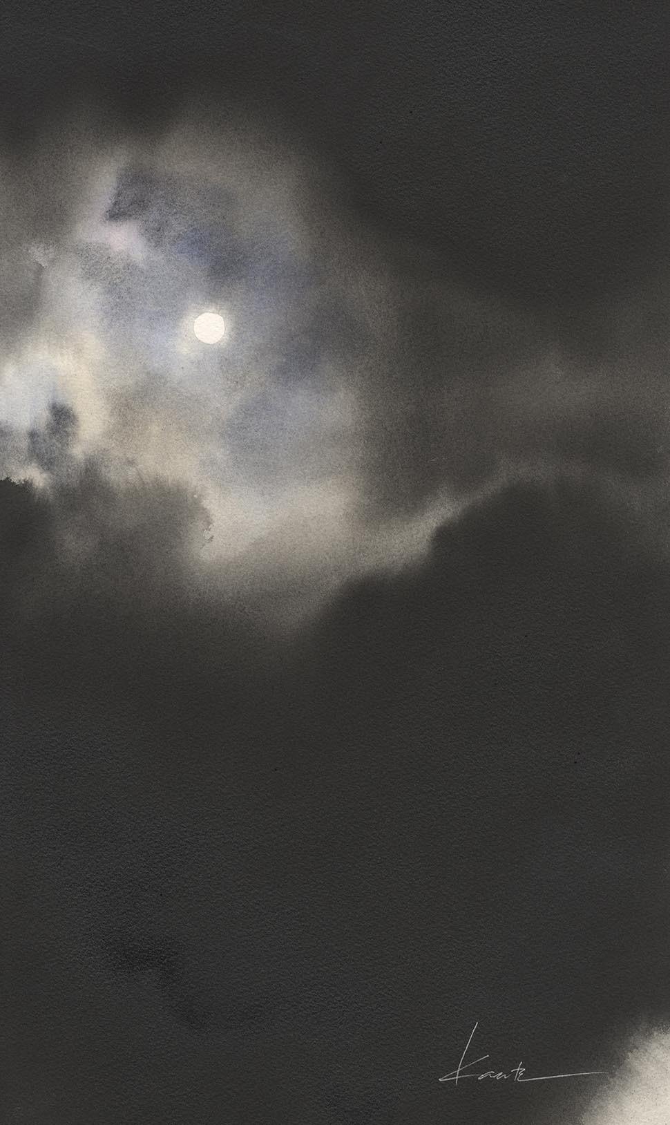 月光 水彩画_f0176370_17030645.jpg