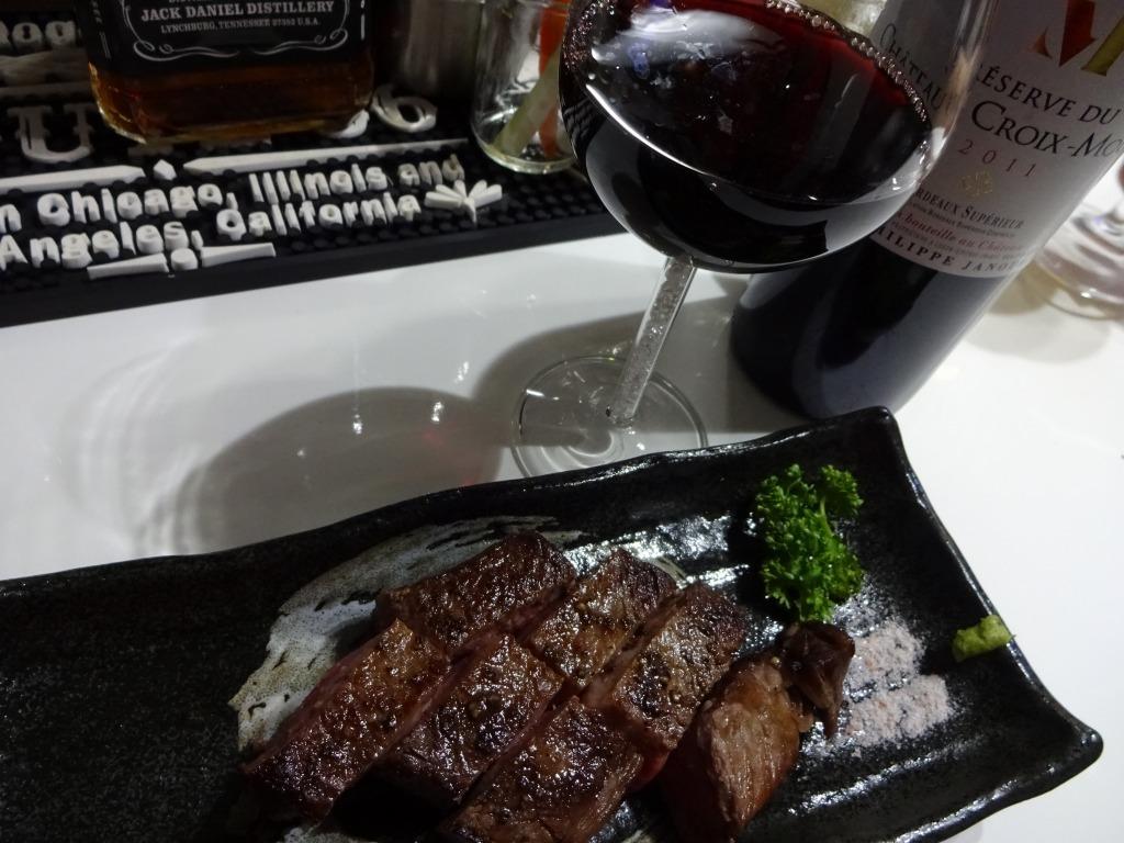 意識高い系ディナー 2 ステーキに塩とワサビと赤ワイン_d0061678_11585186.jpg