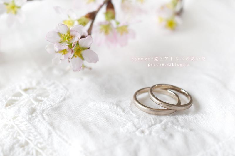 桜とイニシャル、ダイアモンドと記念日のオーダーメイドマリッジリング_e0131432_14022190.jpg