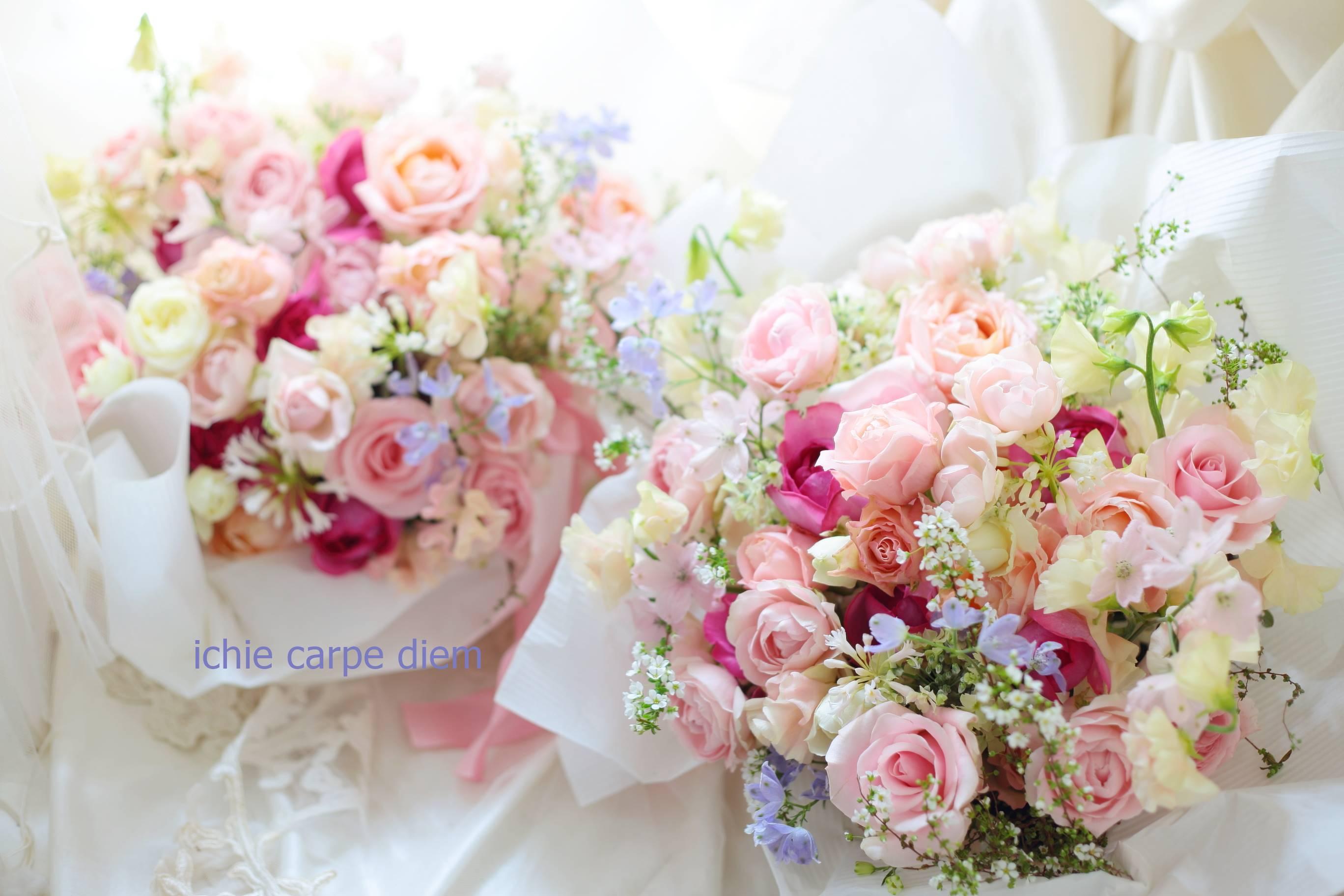 ご両親への贈呈用の花束とアレンジ「バラをいれて」 花畑と森の泉 3月芍薬のイチエッタ_a0042928_09485232.jpg