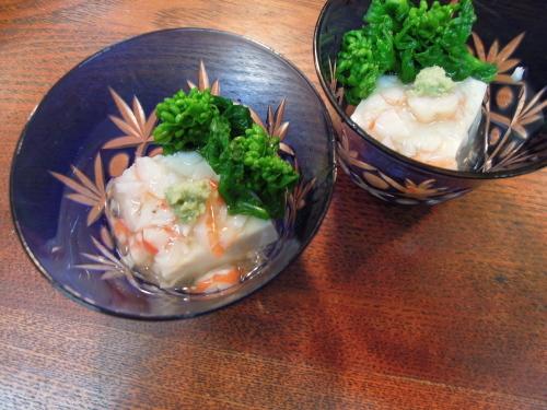 胡麻豆腐 蟹あんかけ 菜の花_e0116211_10301266.jpg